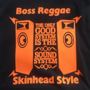 BOSS REGGAE SKINHEAD STYLE T-SHIRT BLACK & ORANGE